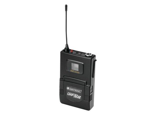 OMNITRONIC UHF-502 Taschensender 823-832MHz, inkl. Lavalier (CH B orange)