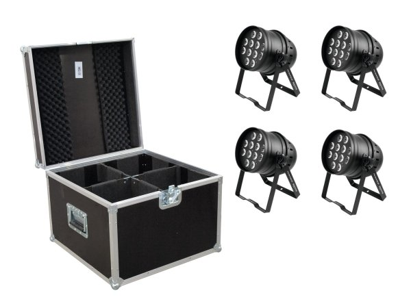 EUROLITE Set 4x LED PAR-64 HCL 12x10W sw + Case