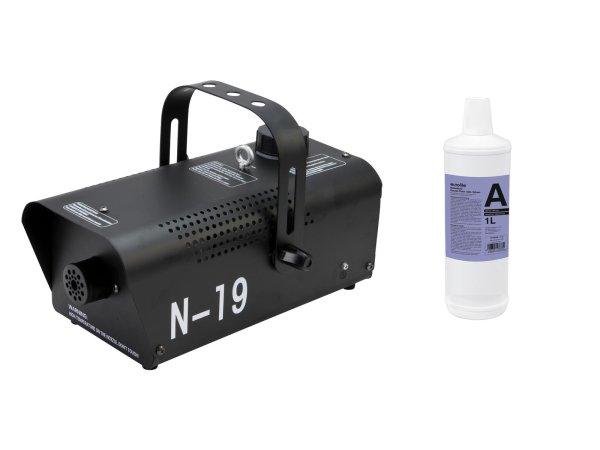 EUROLITE Set N-19 Nebelmaschine schwarz + A2D Action Nebelfluid 1l
