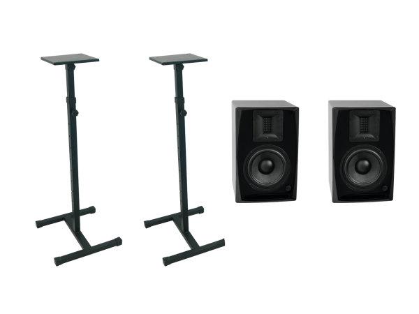 OMNITRONIC Set 2x ARM-6.5 Studio-Monitor 2x MO-1 Ständer