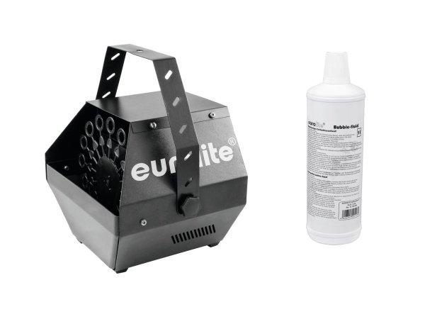 EUROLITE Set B-100 Seifenblasenmaschine schwarz DMX + Seifenblasenfluid 1l
