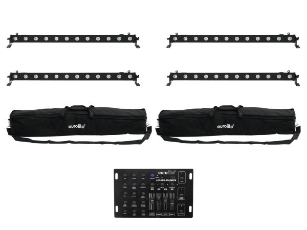 EUROLITE Set 4x LED BAR-12 QCL RGBA + 2x Soft Bag + Controller