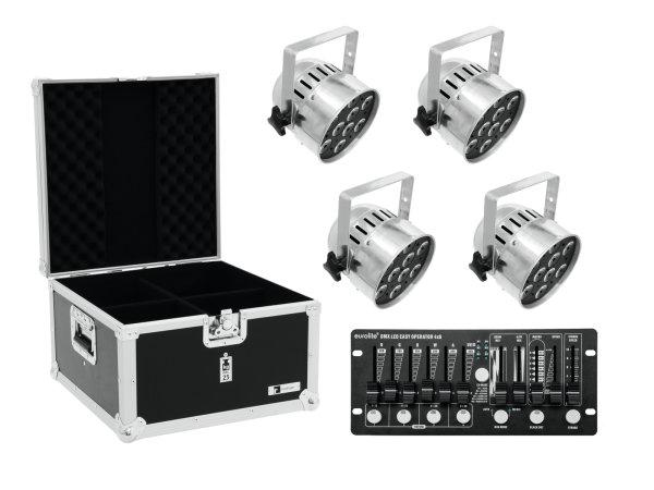 EUROLITE Set 4x LED PAR-56 HCL sil + Case + Controller