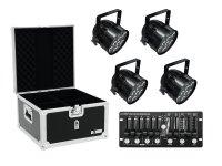 EUROLITE Set 4x LED PAR-56 HCL sw + Case + Controller