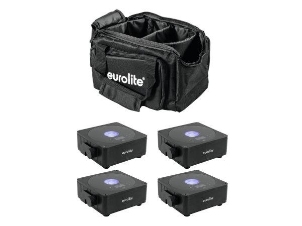 EUROLITE Set 4x AKKU Flat Light 1 schwarz + Soft-Bag