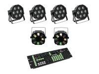 EUROLITE Set 4x LED SLS-7 HCL Floor + 2x LED FE-700 + DMX LED Color Chief Controller