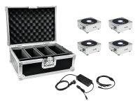 EUROLITE Set 4x AKKU Flat Light 1 silber + Case +...