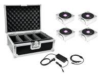 EUROLITE Set 4x AKKU IP Flat Light 1 chrom + Case + Ladegerät