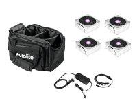 EUROLITE Set 4x AKKU IP Flat Light 1 chrom + Soft-Bag + Ladegerät