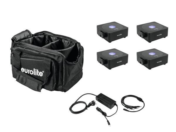 EUROLITE Set 4x AKKU Flat Light 1 schwarz + Soft-Bag + Ladegerät