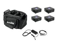 EUROLITE Set 4x AKKU Flat Light 1 schwarz + Soft-Bag +...