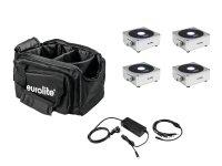 EUROLITE Set 4x AKKU Flat Light 1 silber + Soft-Bag + Ladegerät