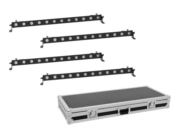 EUROLITE Set 4x LED BAR-12 QCL RGBW Leiste + Case
