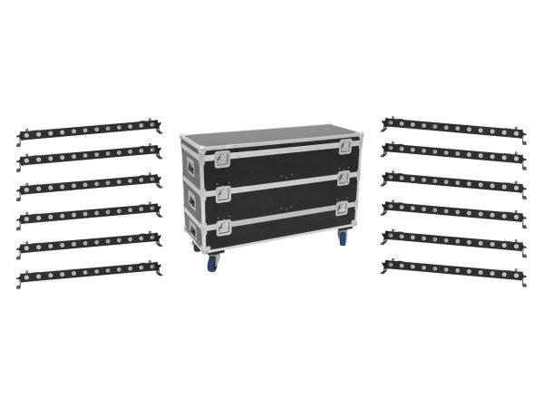 EUROLITE Set 12x LED BAR-12 QCL RGBW Leiste + Case L