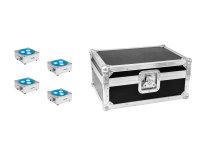 EUROLITE Set 4x AKKU Flat Light 3 sil + Case