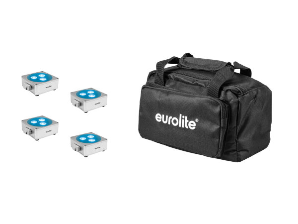 EUROLITE Set 4x AKKU Flat Light 3 sil + Soft-Bag