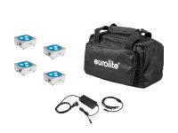 EUROLITE Set 4x AKKU Flat Light 3 sil + Ladenetzteil + Soft-Bag