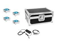 EUROLITE Set 4x AKKU Flat Light 3 sil + Ladenetzteil + Case