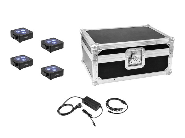 EUROLITE Set 4x AKKU Flat Light 3 sw + Ladenetzteil + Case