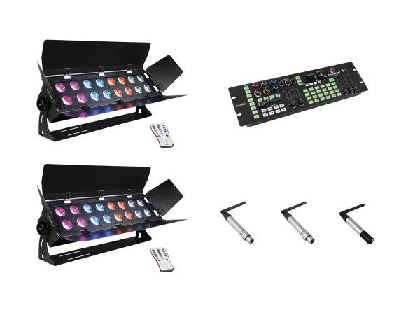EUROLITE Set 2x Stage Panel 16 + Color Chief + QuickDMX Sender + 2x Empfänger