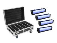 EUROLITE Set 4x AKKU Bar-6 Glow QCL + Case mit Ladefunktion