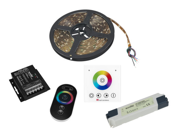 EUROLITE Set LED Strip RGB 5m + RF Controller + Wandpanel + Trafo 24V