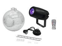 EUROLITE Set Spiegelkugel 30cm mit Motor + LED PST-5 QCL Spot sw