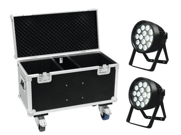 EUROLITE Set 2x LED IP PAR 14x8W QCL + Case mit Rollen