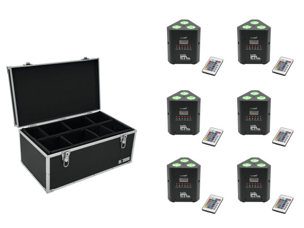 EUROLITE Set 6x AKKU TL-3 TCL Trusslight QuickDMX + Case TDV-1