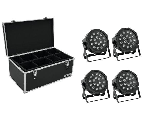EUROLITE Set 4x LED SLS-180 RGB 18x1W Floor + Case TDV-1