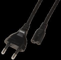Euro-Netzkabel, Länge 1,8 m, 2x0,75 mm², schwarz