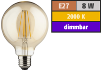 LED Filament Globelampe, E27, 8W, 900lm, 2000K,...
