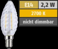 LED Filament Kerzenlampe gedreht, E14, 2,2W, 250lm,...