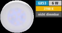 LED Strahler, GX53, 6W, 450lm, 2700K, warmweiß
