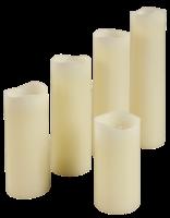 LED Echtwachs-Kerzen, 5er-Pack, 5cm-Ø, Höhe...