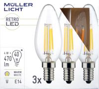 LED Filament Kerzenlampe, E14, 4W, 470lm, 2700K,...