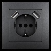 Schutzkontakt-Steckdose mit 2x USB McPower Flair, 250V,...