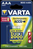 Micro-Akku VARTA ACCU Ready2Use, Ni-MH, 800mA, Typ AAA,...
