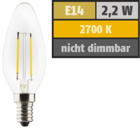 LED Filament Kerzenlampe, E14, 2,2W, 250lm, 2700K,...