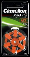 Knopfzelle CAMELION, A13, Zink-Luft, 6er-Blister
