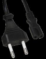 Euro-Netzkabel McPower mit Doppelnutstecker, 1,5m,...
