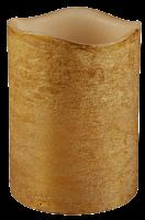 LED Echtwachs-Kerze, gold, ØxH 7,5x10cm