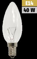 Kerzenlampe, E14, 230V, 40W, klar