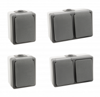 Feuchtraum Set McPower Secure Waschraum 4-teilig, grau, IP44